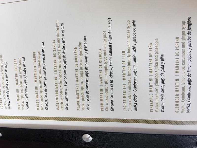 Golden Bar drink menu