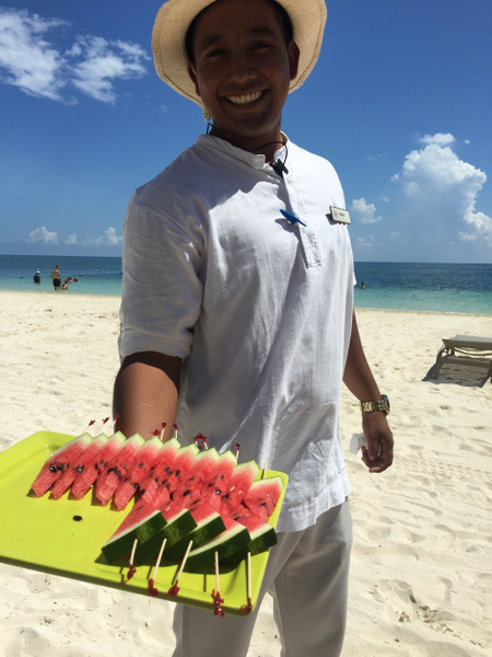 Finest Club Beach concierge delivers an afternoon treat...