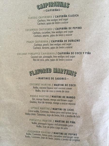 Seaside Bar drink menu by Lovethesun