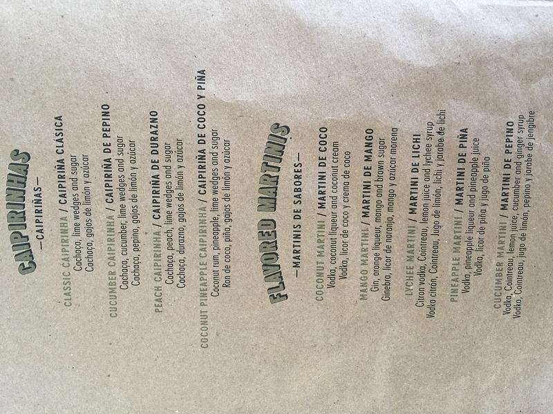 Seaside Bar drink menu