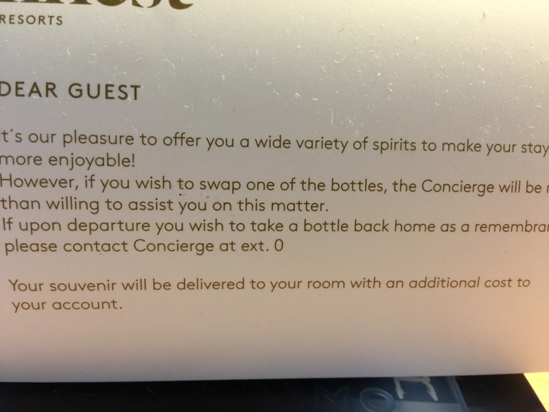 Rules about taking liquor from rooms
