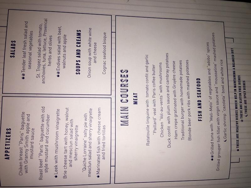 Bistro lunch menu