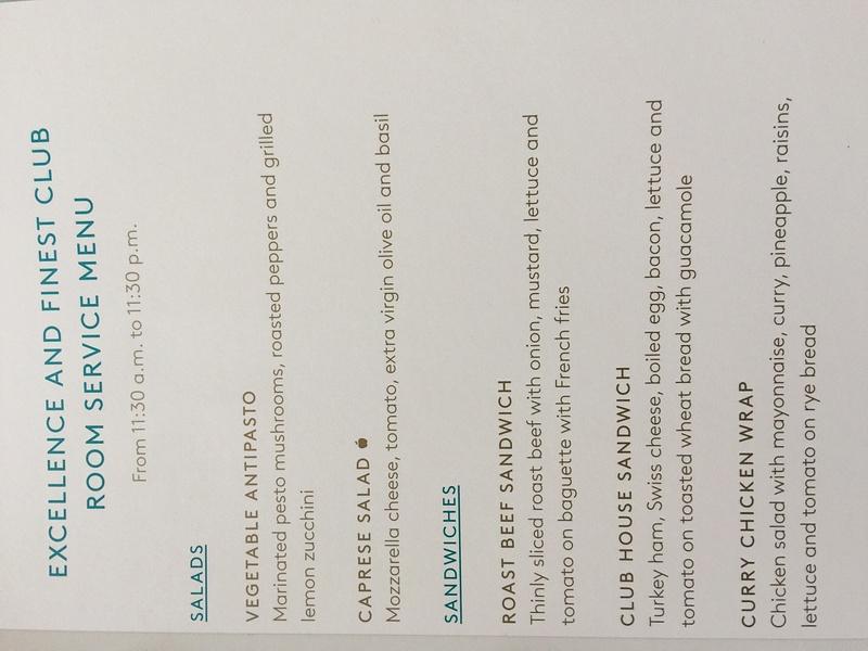 EC and FC room service menu