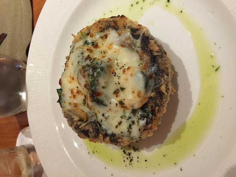 Stuffed portobello mushroom at Brass Steakhouse