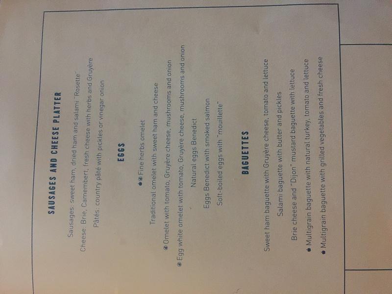 Bisto breakfast menu