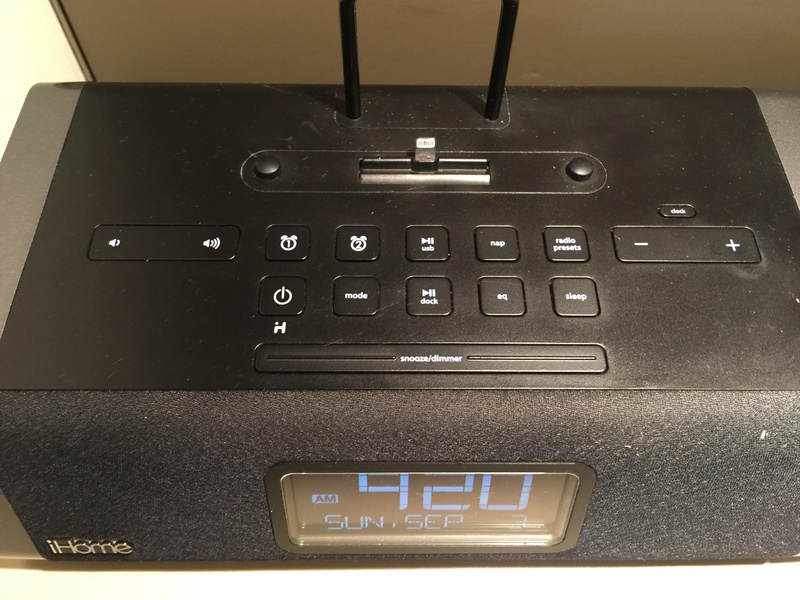 Clock radio in room with iphone connection