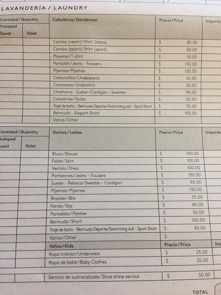 Laundry Price Sheet by Lovethesun