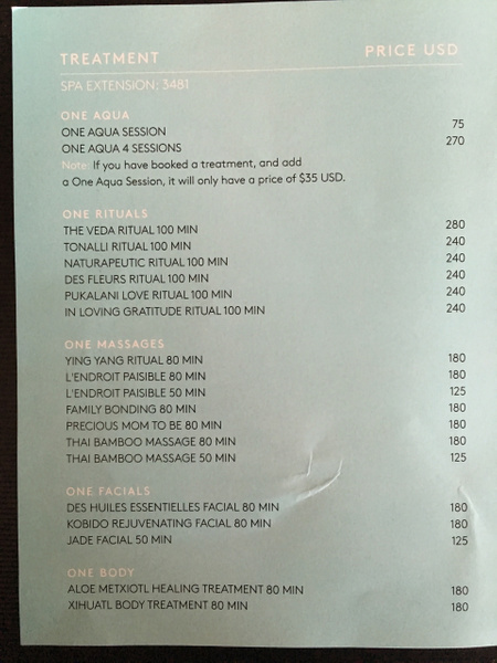 Spa Prices by Lovethesun