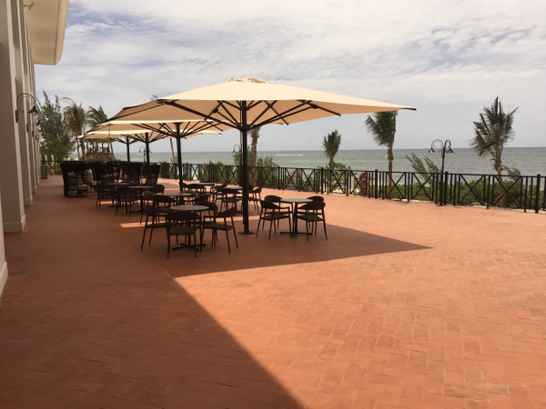 Deck area outside of Martini bar and theater by...