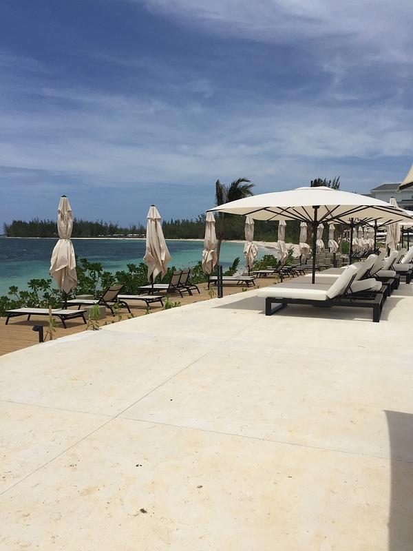 Main pool deck looking out towards ocean