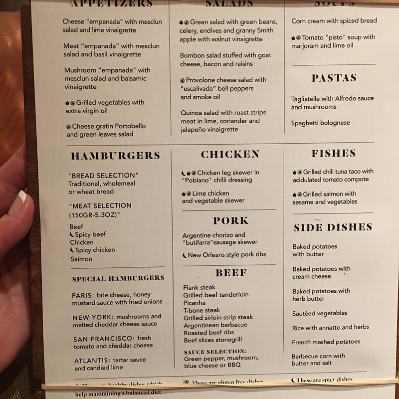 Brass Steakhouse menu