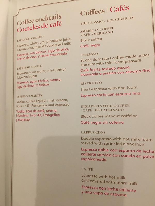 Excellence Club Lounge Cocktail Menu
