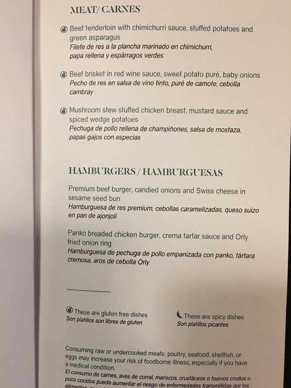 Seaside Bar dinner menu