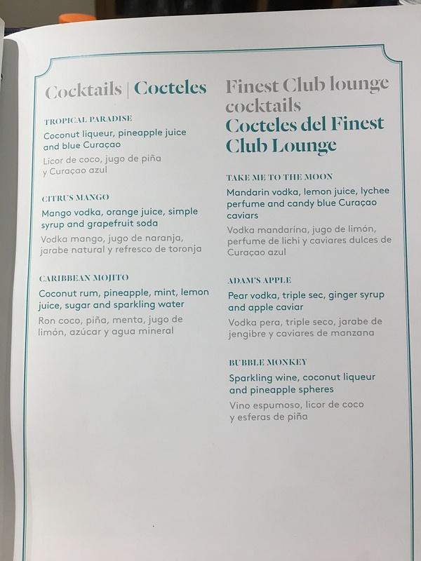 Finest Club Lounge Drink Menu