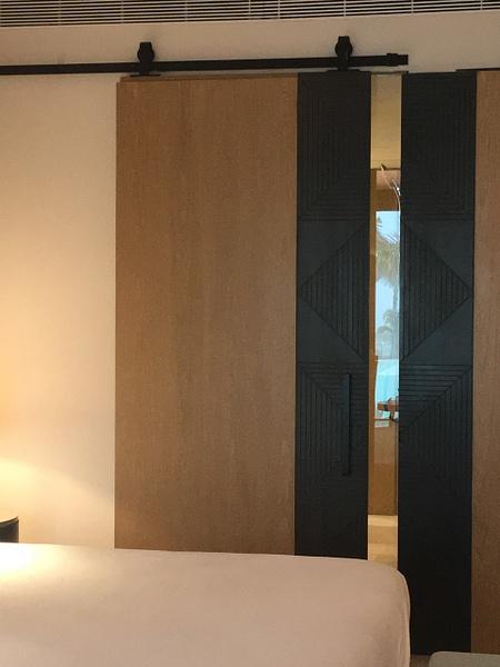Sliding door opens to shower by Lovethesun