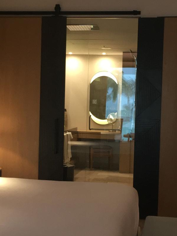 View of shower with sliding door open from bedroom