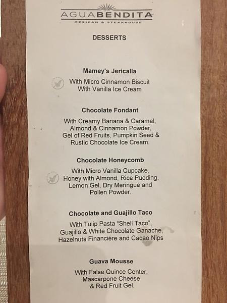 Desset menu at Aquabendita by Lovethesun