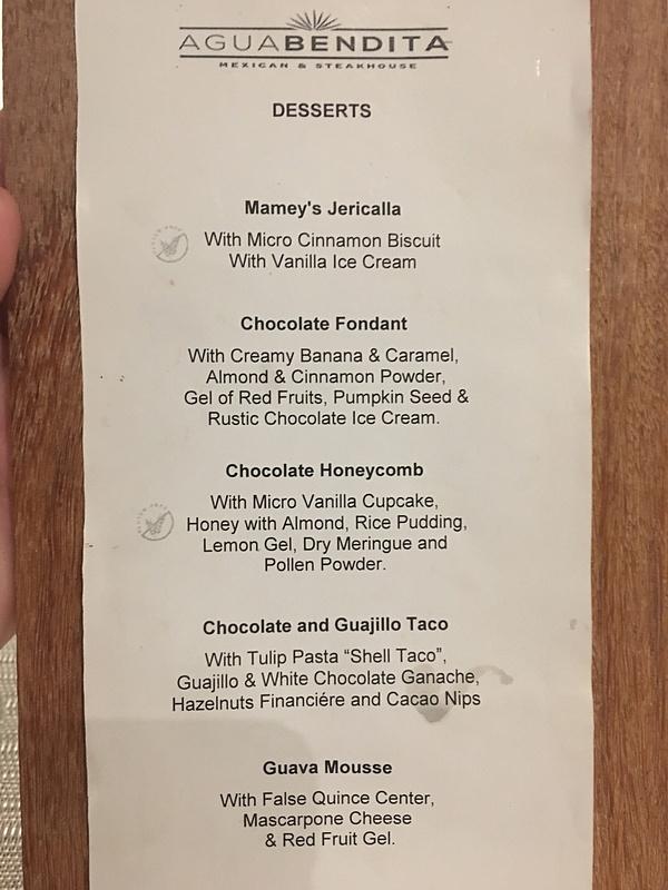 Desset menu at Aquabendita