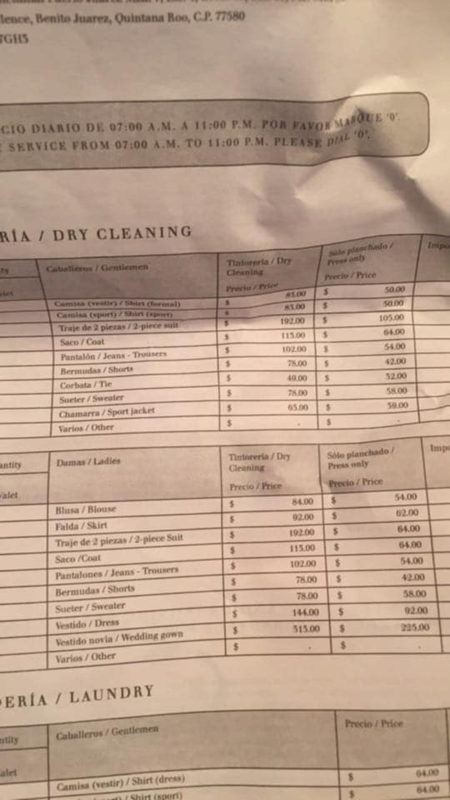 Dry Cleaning Price List