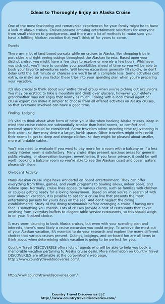 Ideas to Thoroughly Enjoy an Alaska Cruise by StanleyBass