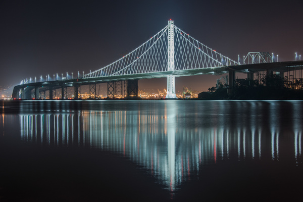 Bay Bridge Reflection by Harvey Abernathey