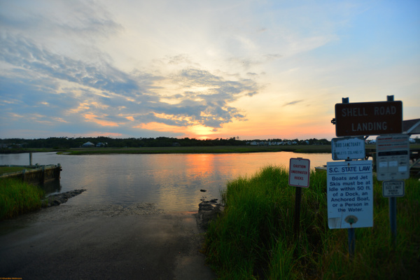 Sunset at Shell Road Landing by CC Robinson