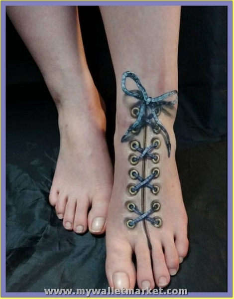 3d-shoeslaces-tattoo by catherinebrightman