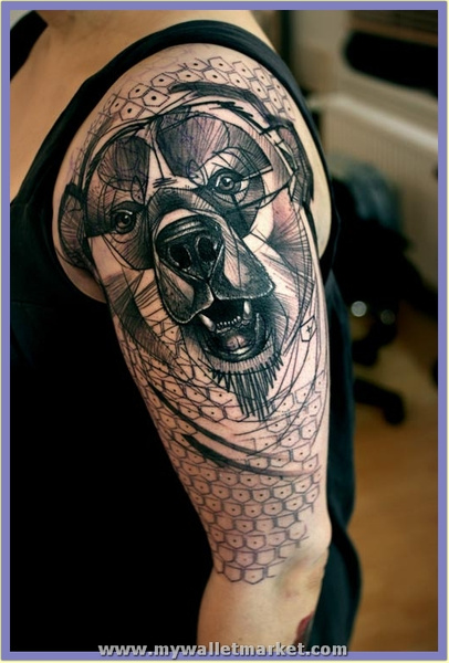 abstract-animal-tattoo-of-a-bear-in-a-cubist-art-style...