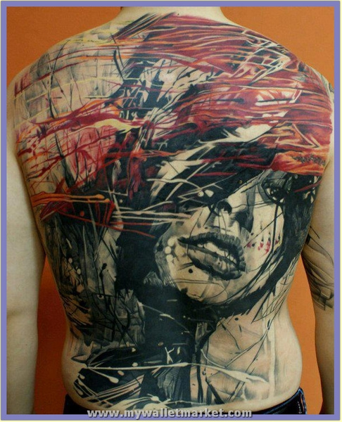 abstract-art-girl-face-tattoo-on-back by...
