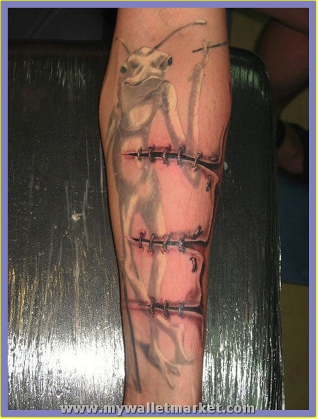 ripped-skin-stitched-cut-3d-arm-tattoo by...