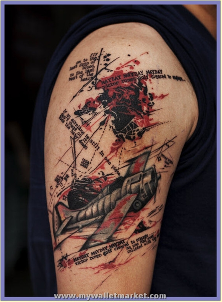 abstract-plane-tattoo by catherinebrightman