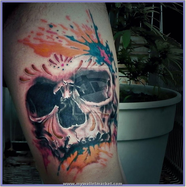 realistic_skull_tattoo by catherinebrightman