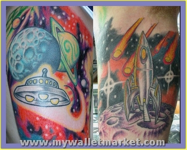 amazing-colored-ink-alien-tattoo-on-half-sleeve by...