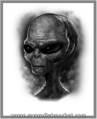 grey-ink-alien-head-tattoo-design by catherinebrightman
