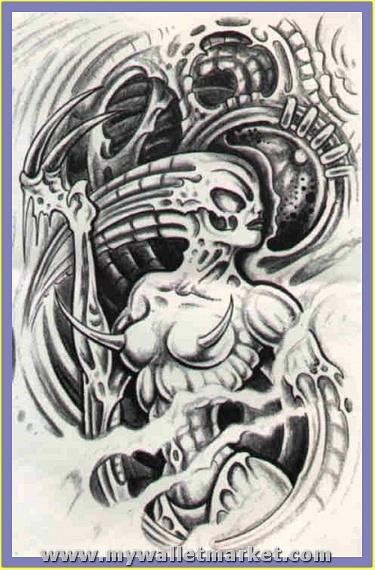 grey-ink-alien-tattoo-design-for-back