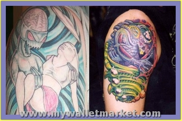 colored-ink-alien-with-girl-and-alien-tattoos-on-shoulder...