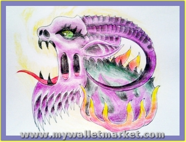 pink-color-alien-snake-tattoo-design by...