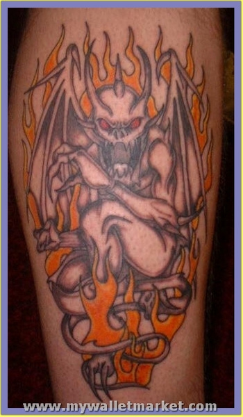 unique-flaming-gargoyle-tattoo by catherinebrightman
