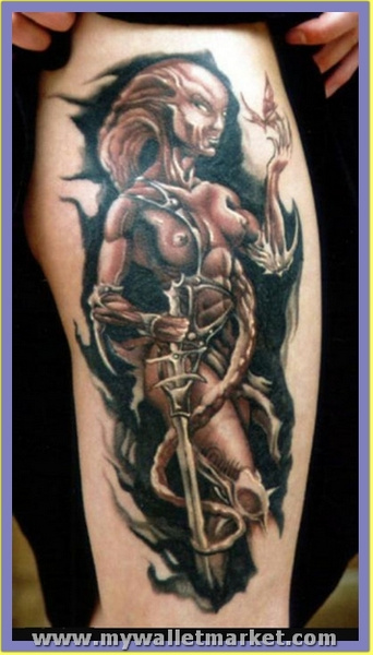 wonderful-fighter-alien-woman-tattoo-design by catherinebrightman