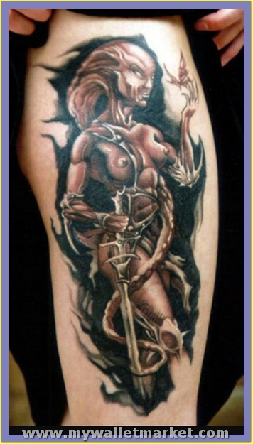 wonderful-fighter-alien-woman-tattoo-design