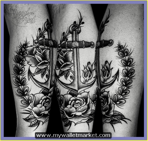 12-old-school-anchor-and-roses-custom-tattoo