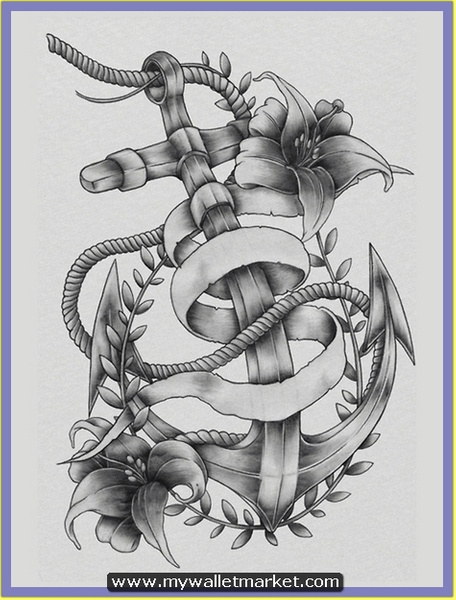 grey-ink-anchor-tattoo-with-rope-flowers by...