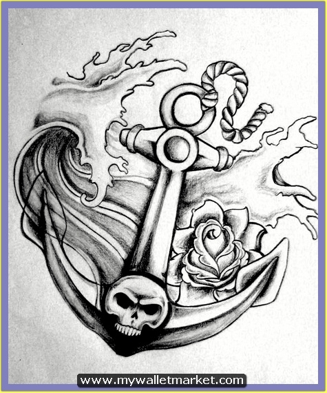 grey-skull-anchor-tattoo-design by catherinebrightman