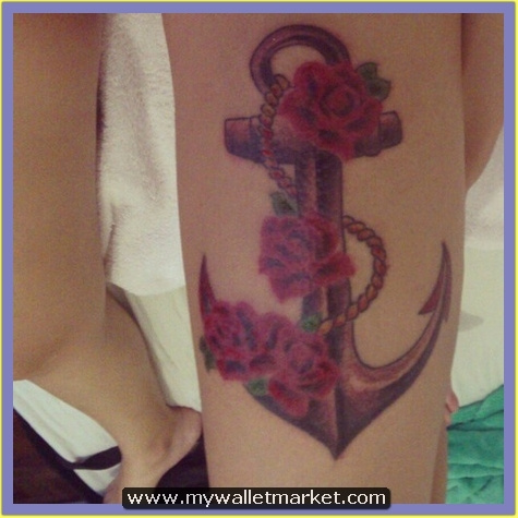 mind-blowing-rope-anchor-with-red-roses-tattoo by...