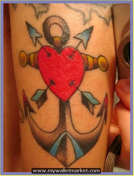 red-heart-with-arrows-and-anchor-tattoo by...