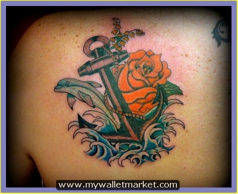 rose-flower-and-colored-anchor-tattoo by...
