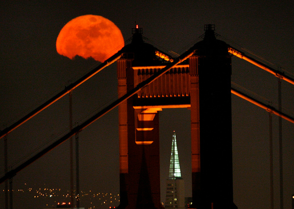 Moon Through Golden Gate