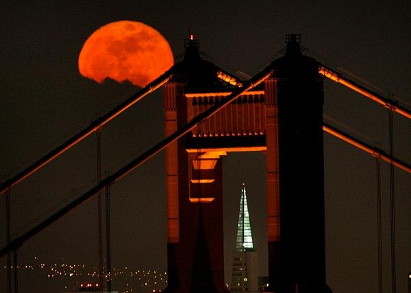 Moon Through Golden Gate by FLarson