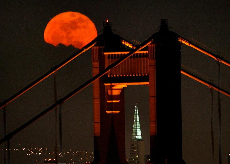 Moon Through Golden Gate